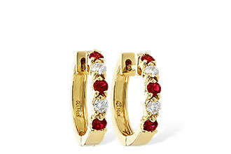 F010-66479: EARRINGS .33 RUBY .52 TGW