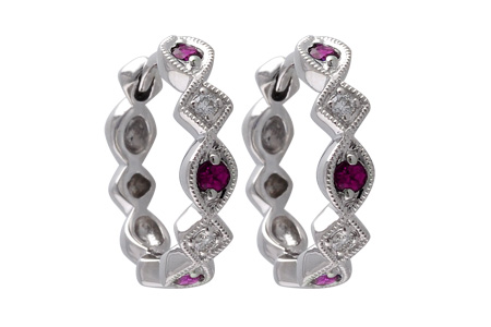 M010-63733: EARRINGS .20 RUBY .25 TGW